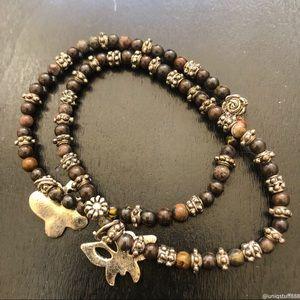 🔴 2 Tiger's Eye Elastic Bracelets Butterfly Charm